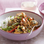 Red Thai curry with salmon and puy lentils