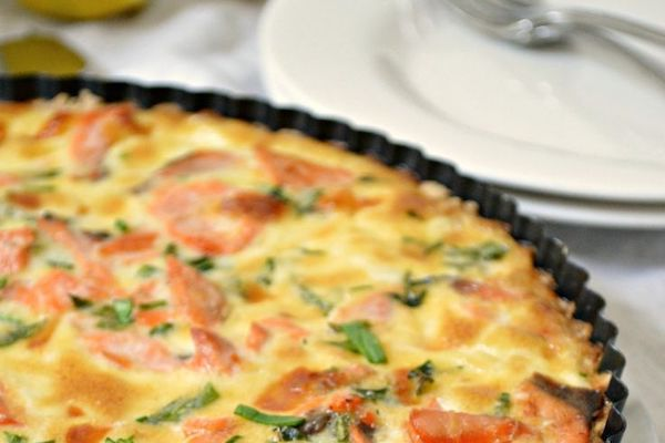 Crustless smoked salmon, leek & mushroom quiche